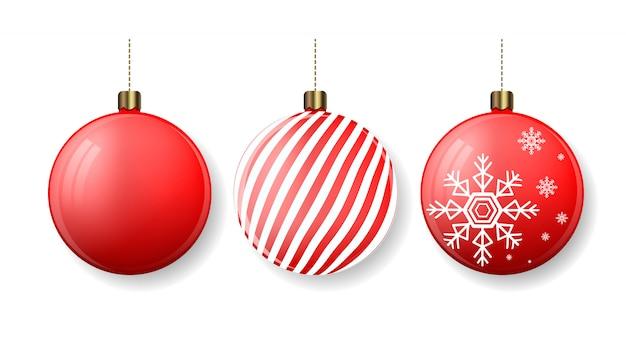 Bolas de natal com listras e flocos de neve