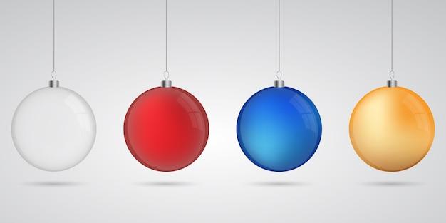 Bolas de natal com sombra Vetor Premium