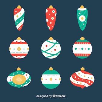 Bolas de natal de design plano bonito