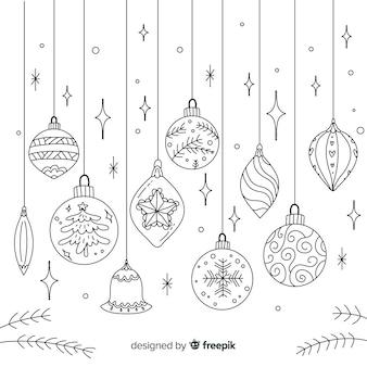 Bolas de natal de mão desenhada