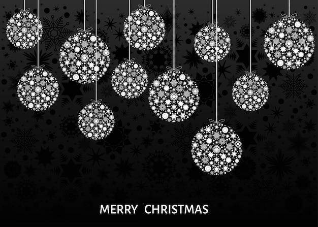 Bolas de natal. decoração da árvore de natal branca em fundo preto. feliz ano novo. modelo de vetor para cartão ou convite para festa.