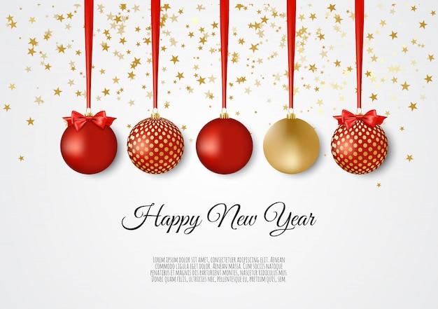 Bolas de natal decorativas de ouro e vermelhas, fundo de ano novo