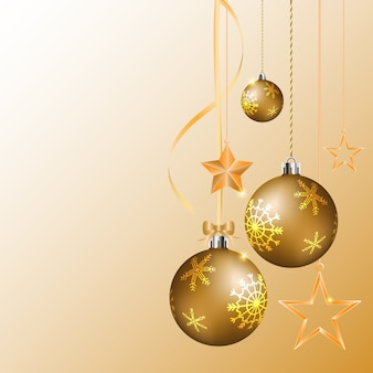 Bolas de natal dourada realista vector e estrela brilhante pendurado na fita