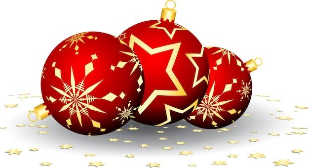 Bolas de natal e confetes estrelados
