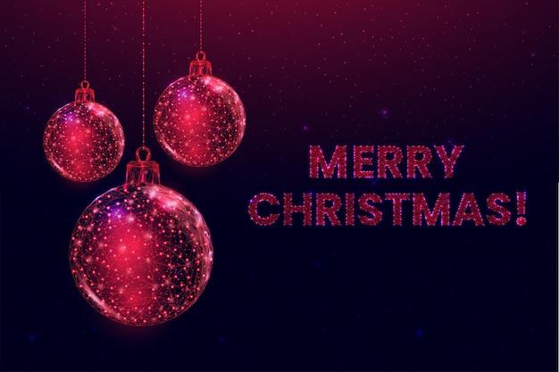 Bolas de natal em estrutura de arame, estilo poli baixo. banner de feliz natal e ano novo. ilustração em vetor 3d moderna abstrata sobre fundo azul.