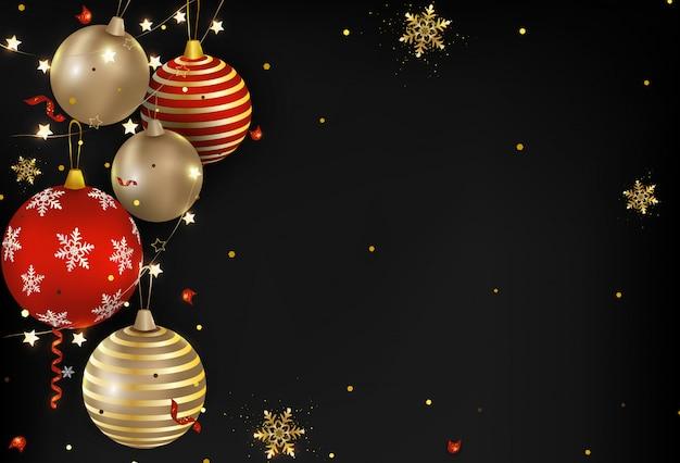 Bolas de natal escuras, luzes, confetes, flocos de neve.