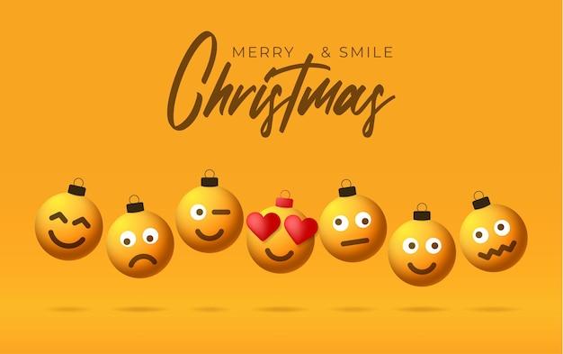 Bolas de natal feliz amarelo com cartão de saudação de rosto bonito. emoticons em brinquedos de bolhas. vetor para árvore de natal de férias de decoração. elemento do projeto banner de venda de feliz ano novo, folheto, cartaz, plano de fundo