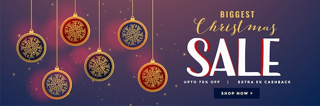 Bolas de natal pendurado decoração design de banner de venda