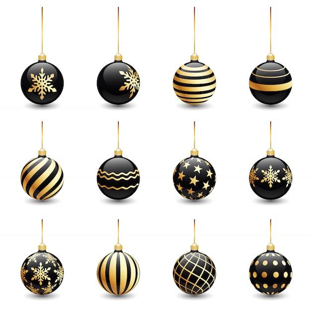 Bolas de natal preto de ornamento dourado conjunto isolado no branco