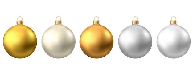 Bolas de natal realistas de ouro prata isoladas no fundo branco