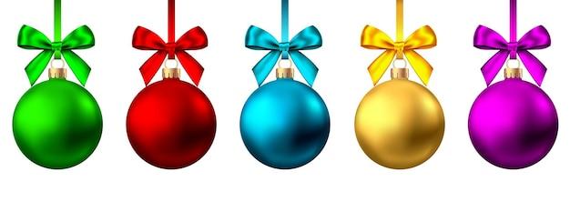 Bolas de natal realistas de ouro, vermelho, azul, roxo com arco e fita isoladas no fundo branco. decoração da árvore de natal do vetor.