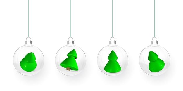 Bolas de natal transparentes com caixas de presente e árvores de natal dentro. bola de vidro de natal. modelo de decoração de férias. ilustração vetorial.