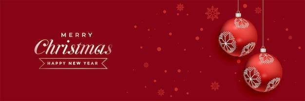 Bolas de natal vermelhas decoração design de banner