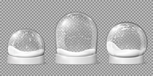 Bolas de neve vazias. globo de neve, cúpula brilhante de forma esférica. tigela de férias na base e flocos de neve dentro, conjunto de vetores recentes de brinquedos de natal