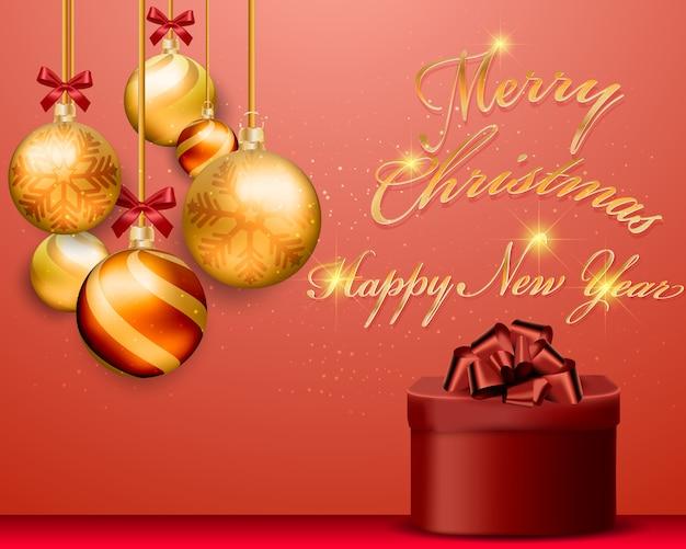 Bolas de ouro de natal com caixa de presente