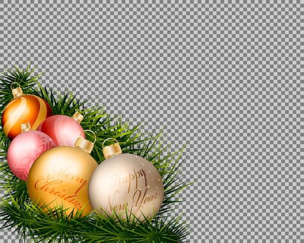 Bolas de ouro de natal com grama em fundo transparente.