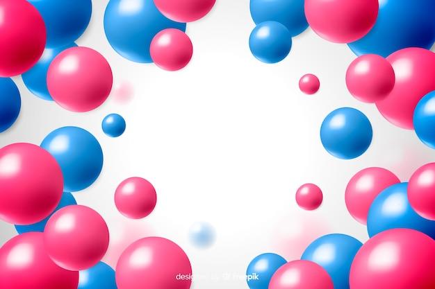 Bolas de plástico brilhante fundo design realista