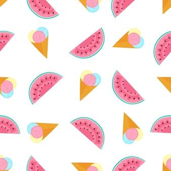 Bolas de sorvete em um cone de waffle e melancia. padrão sem emenda de verão. usado para superfícies de design, tecidos, têxteis, papel de embalagem, papel de parede