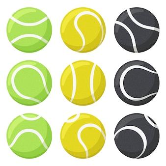 Bolas de tênis. conjunto de esportes, equipamentos de ginástica, bolas de tênis pretas, amarelas e verdes em vários ângulos