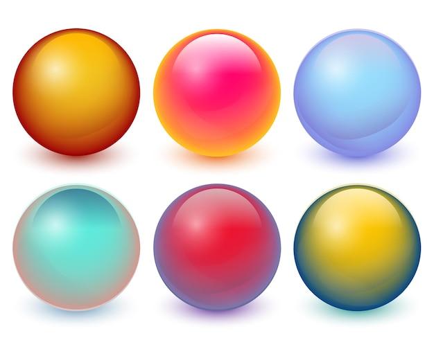 Bolas de vetor conjunto 3d de esferas de círculos coloridos