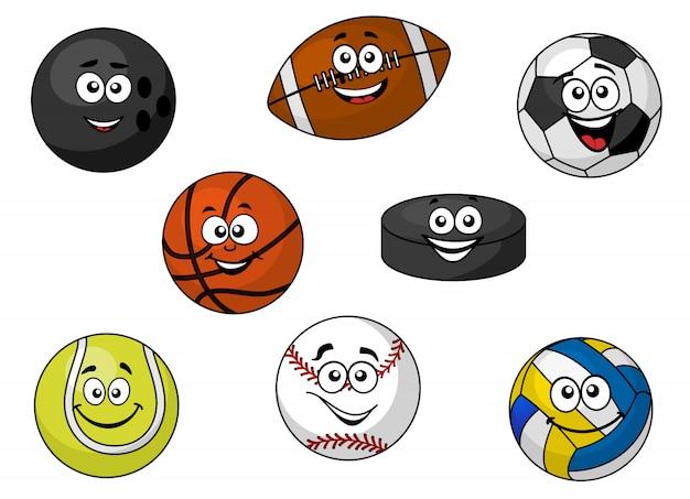Bolas e equipamentos esportivos felizes