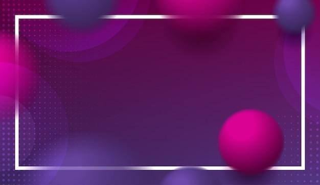 Bolas e esferas de borrão no fundo roxo escuro