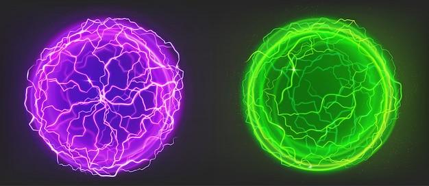 Bolas elétricas, esferas de cores roxas e verdes