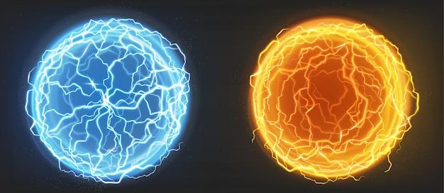 Bolas elétricas, esferas de plasma azuis e laranja