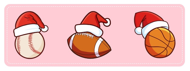 Bolas esportivas kawaii fofas e engraçadas com chapéu de papai noel para a promoção de natal