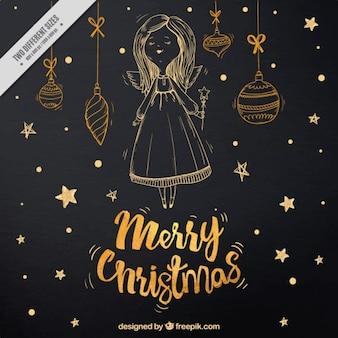 Bolas feliz natal e esboço anjo fundo