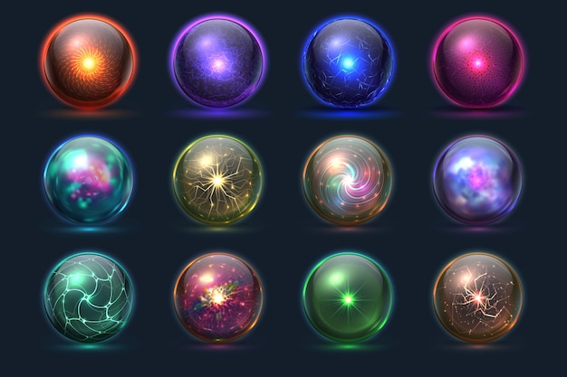 Bolas mágicas. orbes misteriosos de energia, esfera paranormal de previsão de vidro de cristal mágico