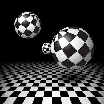 Bolas mágicas sobre o chão quadriculado