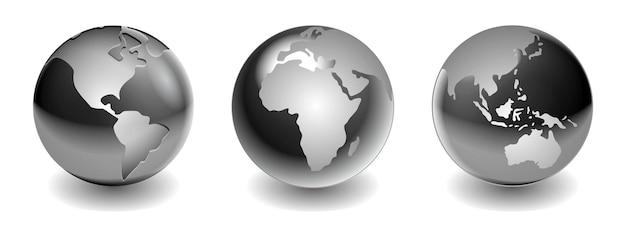 Bolas metálicas de aço ou sombras de bolas prateadas ou reflexos de esferas metálicas de aço no mapa mundial