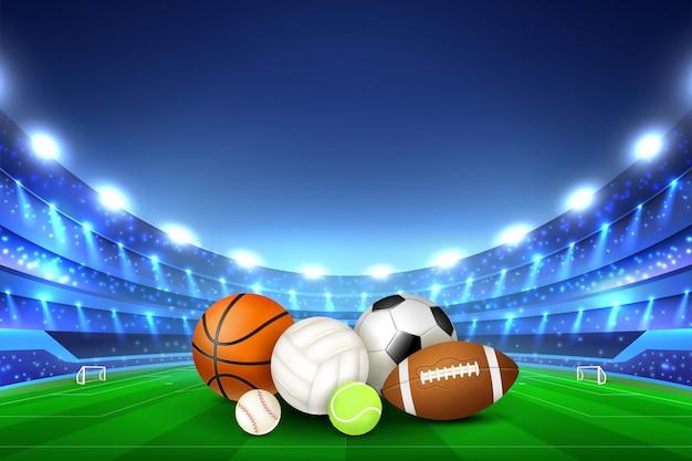 Bolas para diferentes jogos de esporte no centro do estádio