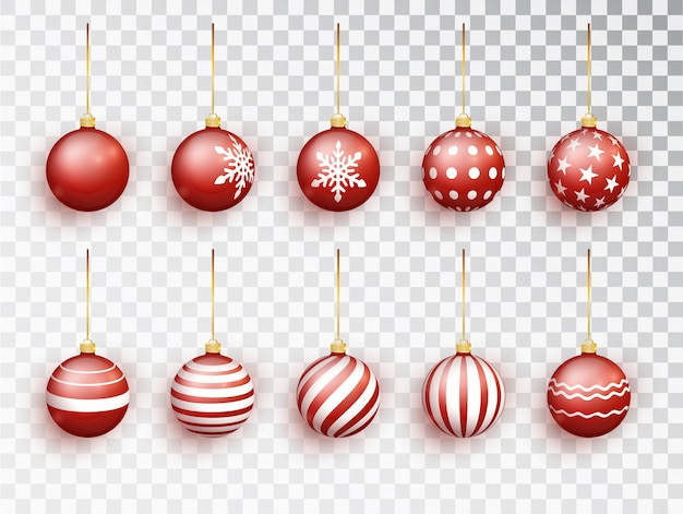 Bolas vermelhas de natal em branco