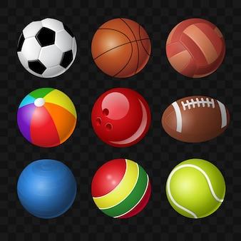 Bolas - vetor moderno realista clipart isolado em fundo transparente. equipamentos para diversos jogos esportivos, futebol, futebol, basquete, beisebol, vôlei, bola de praia, boliche, tênis e brinquedos