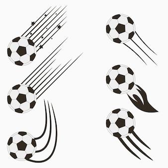 Bolas voadoras de futebol ou futebol europeu com trilhas de movimento de velocidade design gráfico para esportes