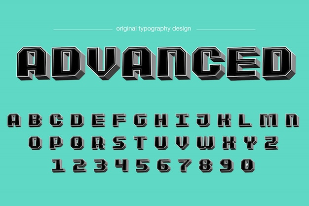 Bold bevel 3d preto design de tipografia