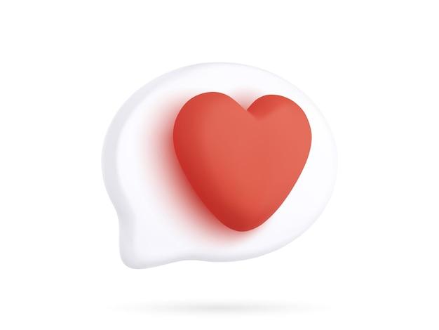 Bolha 3d realista com coração vermelho isolada no fundo branco. ilustração vetorial