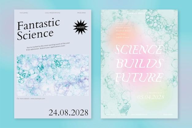 Bolha arte modelo ciência evento vetorial cartazes de anúncios estéticos conjunto duplo