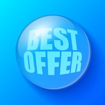 Bolha azul com o melhor texto de oferta