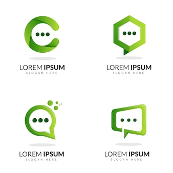 Bolha bate-papo logotipo verde