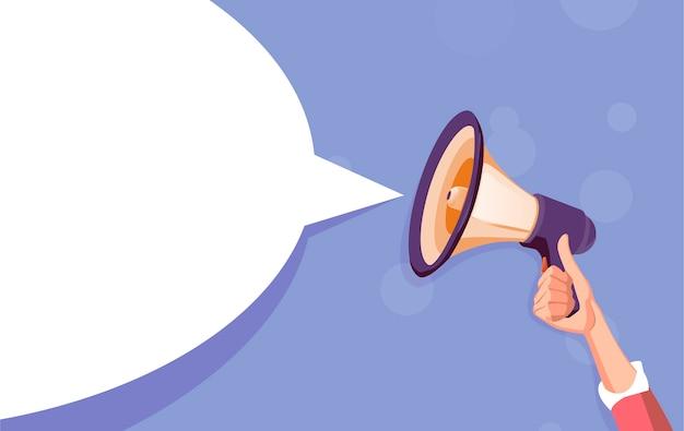Bolha branca de megafone para mídias sociais.