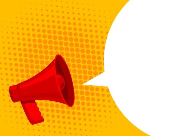 Bolha branca de megafone para o conceito de marketing de mídia social