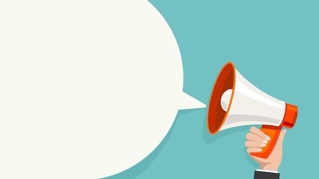 Bolha branca do megafone para o conceito de marketing de mídia social. anúncio vetorial para marketing