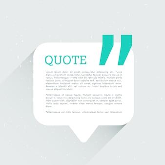 Bolha conversar com espaço para seu texto e cotação