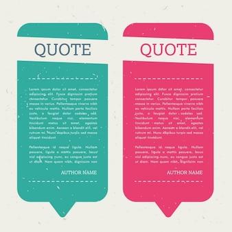 Bolha das citações criativo definido com mensagem nota