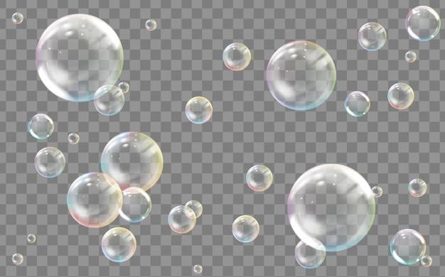 Bolha de água ou sabão colorida transparente realista