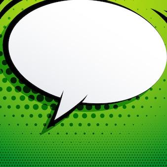 Bolha de bate-papo comic sobre fundo verde com efeito de meio-tom