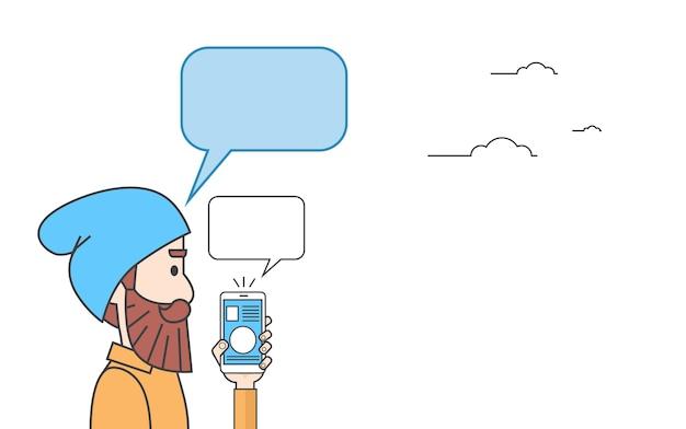 Bolha de bate-papo do telefone inteligente hipster homem
